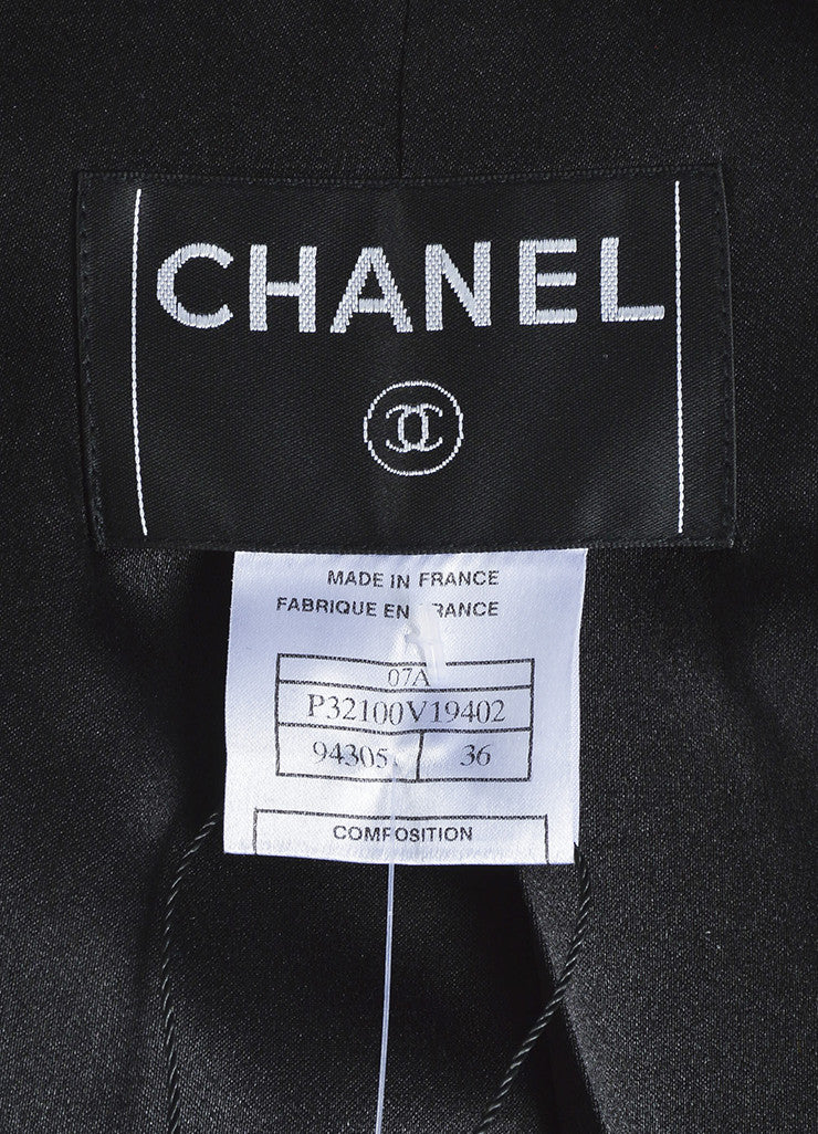 Chanel Black Wool Bead Embellished Belted Short Sleeve Coat Brand