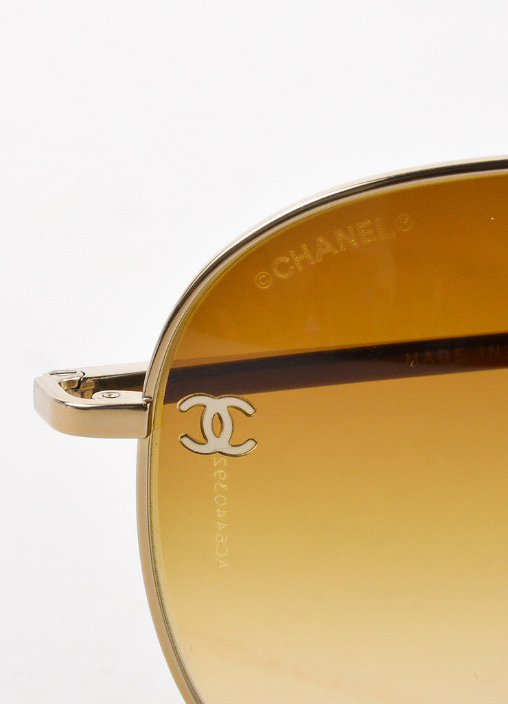 "Chanel Gold Toned Metal Brown Gradient Lens ""CC"" Aviator ""4189"" Sunglasses Brand"