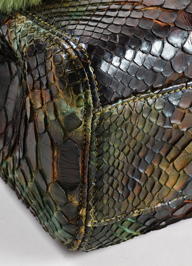 Chanel Green and Brown Chinchilla Fur and Python Leather Jumbo Classic Flap Bag Detail