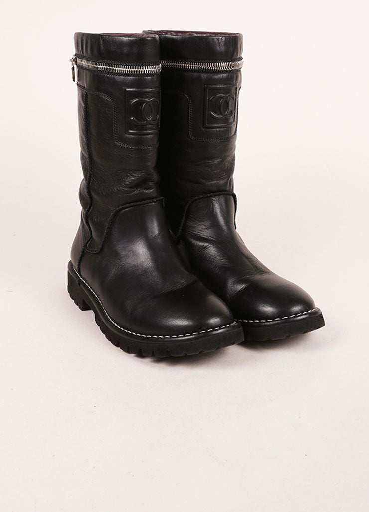 "Chanel Black Zip Pocket ""CC"" Leather Moto Boots Frontview"