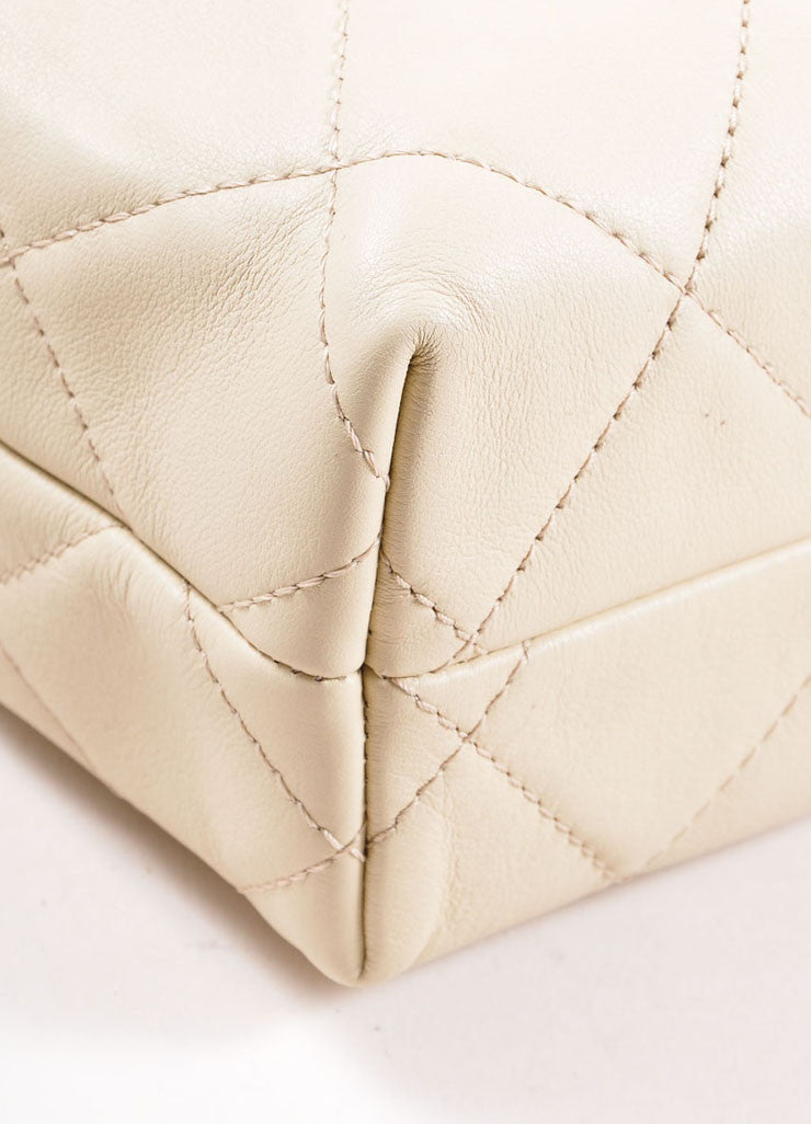 "Chanel Light Beige Calfskin Leather ""Quilted in the Business"" Flap Bag Detail"