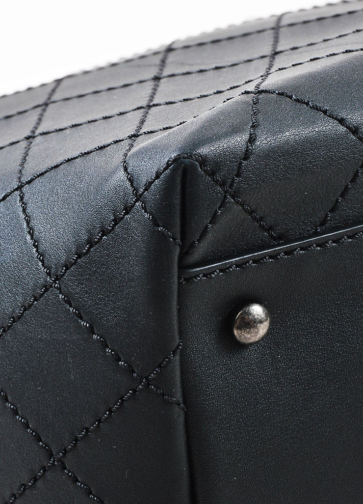 Chanel '16 Cruise Collection Black Quilted Leather Large Shopping Tote Detail 2