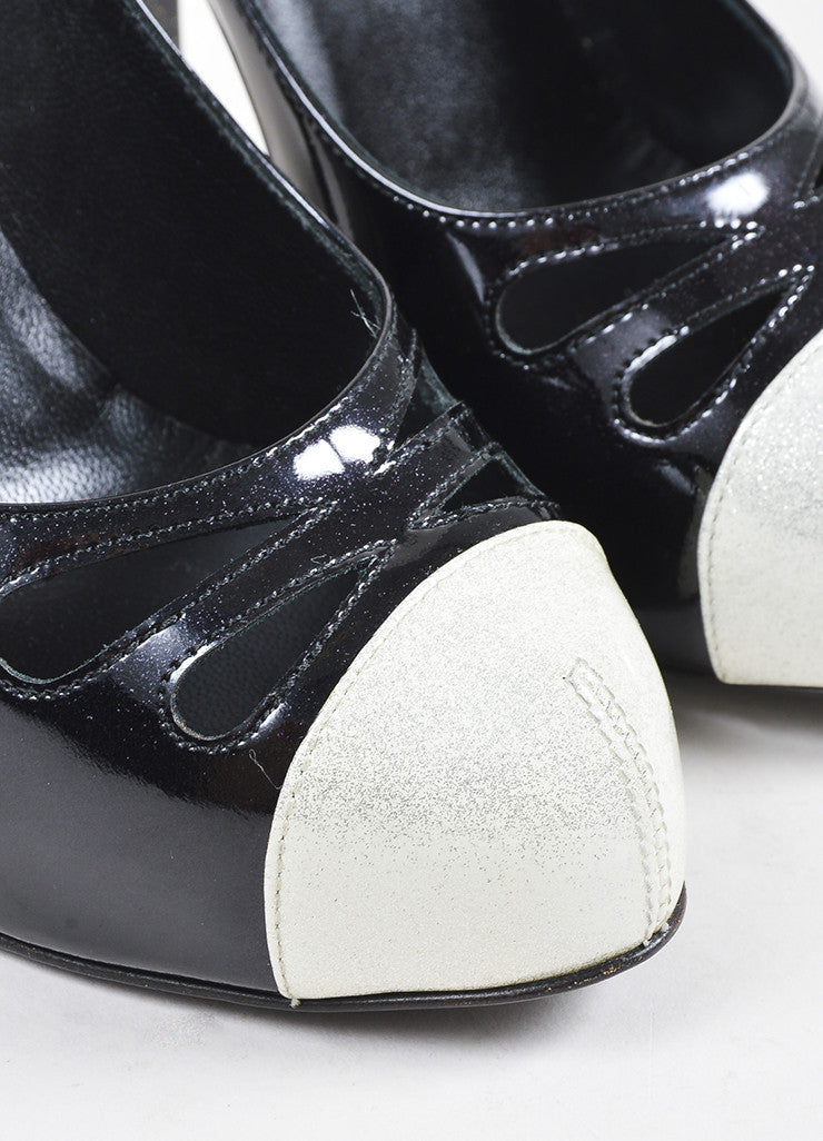 Black and White Chanel Patent Leather Glitter Cap Toe Cutout Pumps Detail