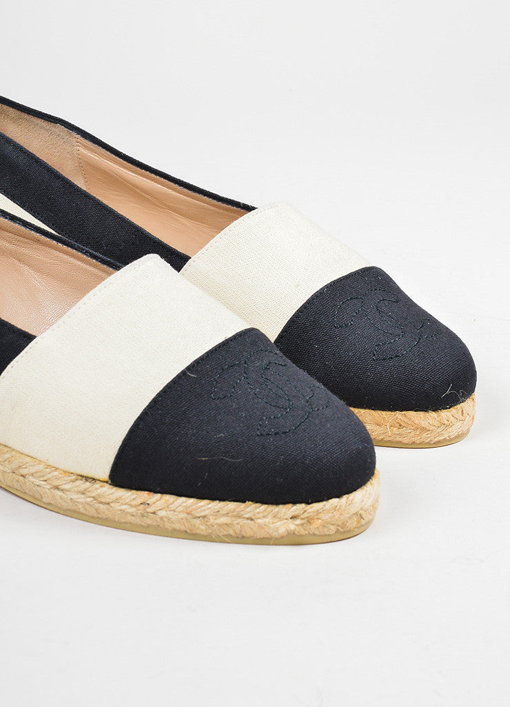 Cream and Black Chanel Canvas Cap Toe 'CC' Logo Espadrille Flats Detail