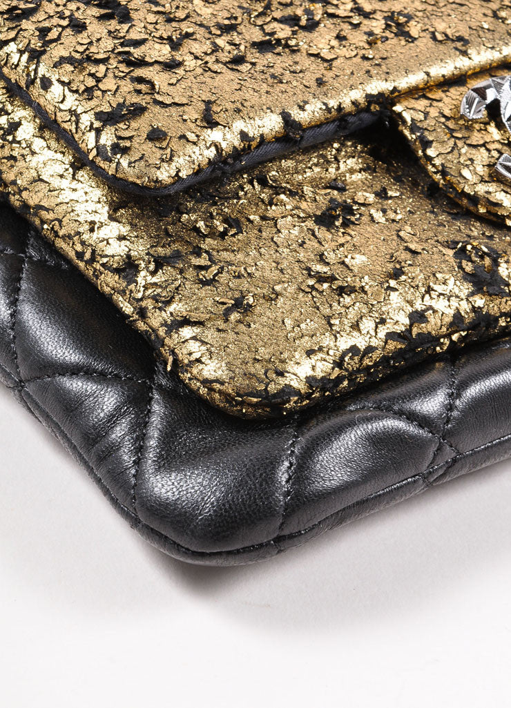 Chanel New Without Tags Black Gold Tone Metallic Flaked Leather Quilted Flap Pocket Bag Corner