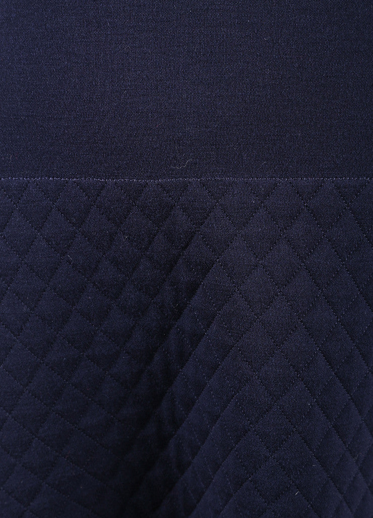 Chanel Navy Blue Wool Quilted Knit Drop Waist Long Sleeve Dress Detail