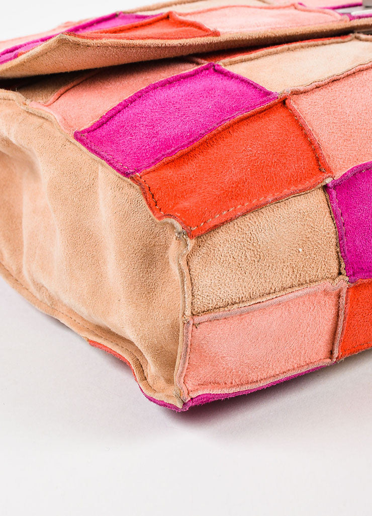 "Chanel Pink and Beige Suede Leather ""Mademoiselle Patchwork Reissue"" Flap Bag Detail"