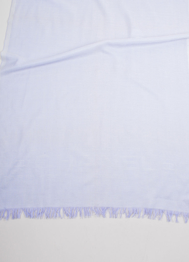 "Purple and White Chanel Cashmere Lightweight Fringe Trim ""CC"" Pashmina Scarf Brand"