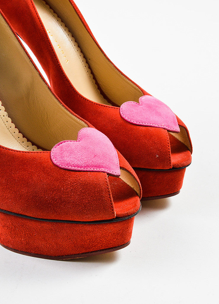 "Charlotte Olympia Red and Pink Suede ""Delphine"" Heart Peep Toe Platform Heels Detail"