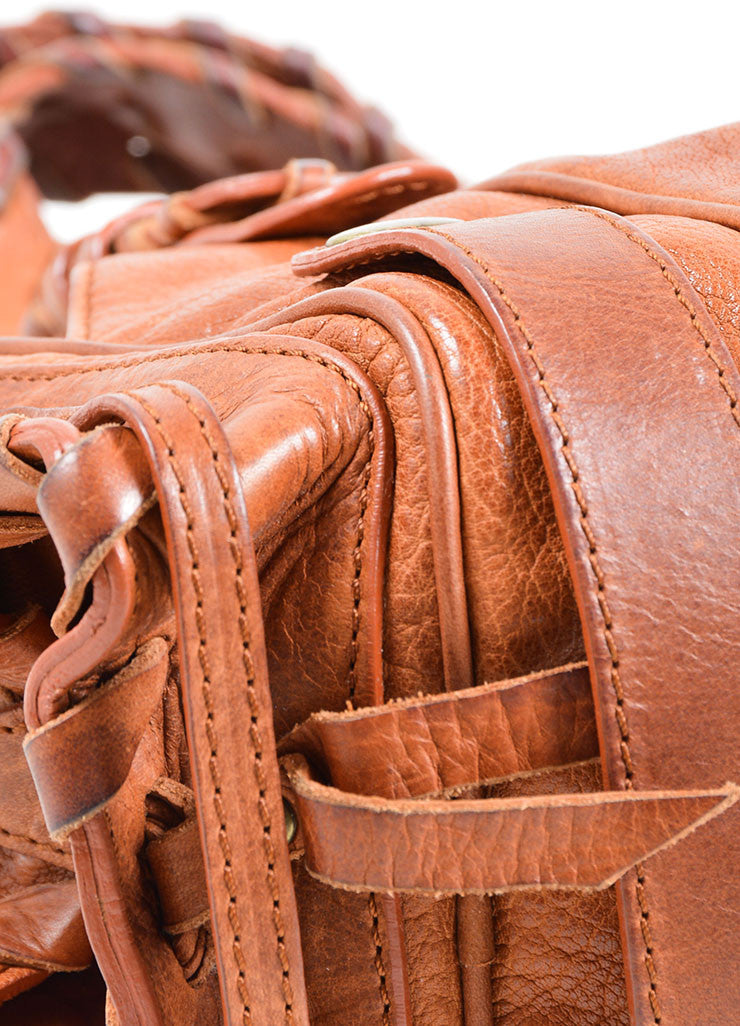 "Chloe Brown Leather Whipstitch ""Mini Silverado"" Satchel Bag Detail"