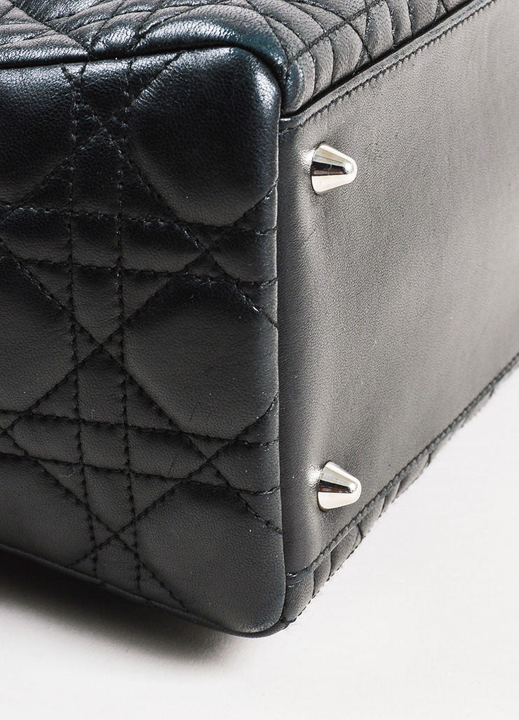"Christian Dior Black Leather Cannage Quilted ""Lady Dior Medium"" Tote Bag Detail"