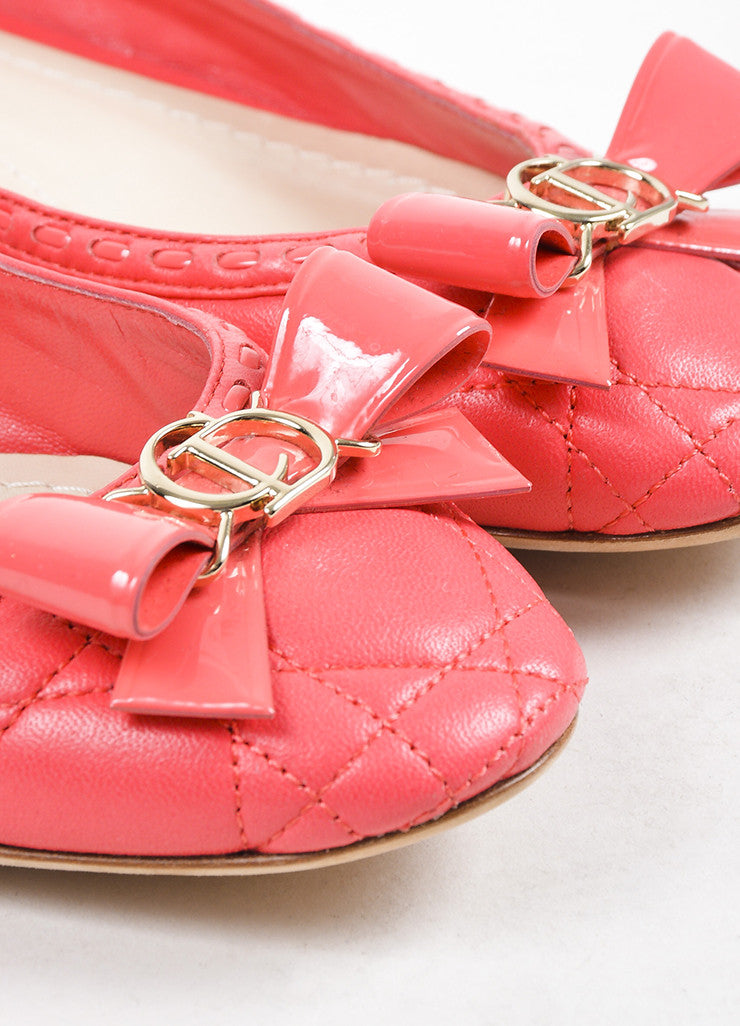 "Christian Dior Coral ""Cannage"" Leather Bow Ballerina Flats Detail"