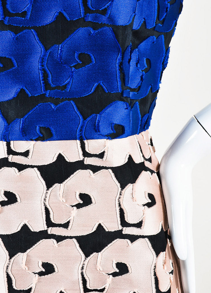 Christian Dior Blue and Pink Petal Short Sleeve High Low Dress Detail