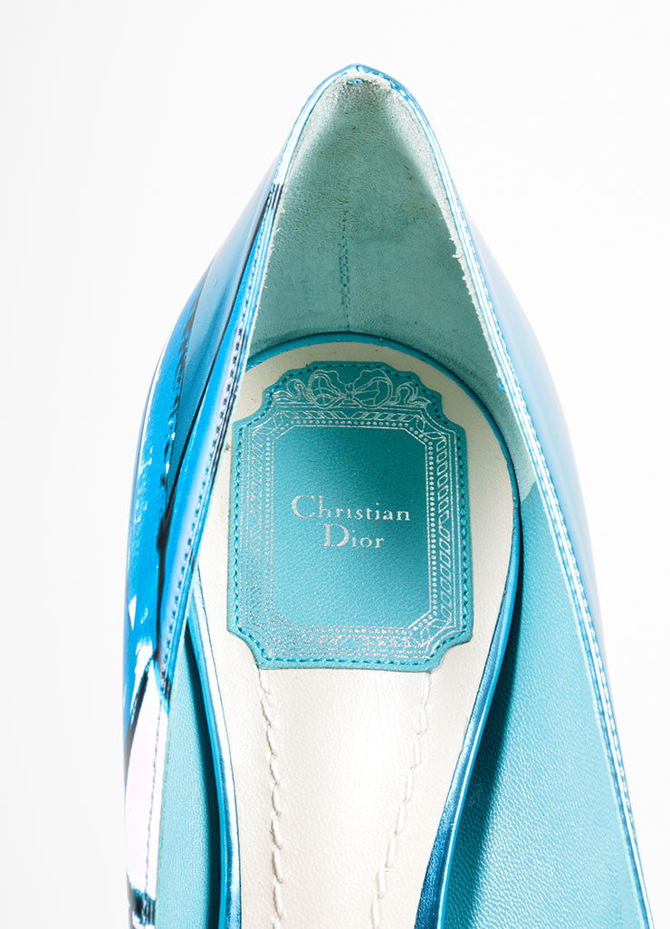 "Metallic Blue Painted Leather Christian Dior ""Cherie"" Pumps Brand"