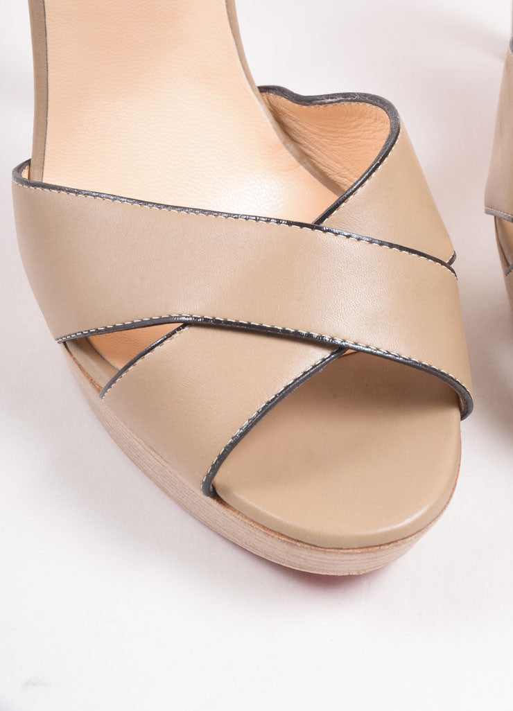 "Christian Louboutin Tan Leather Stacked Platform ""Sporting"" Sandals Detail"