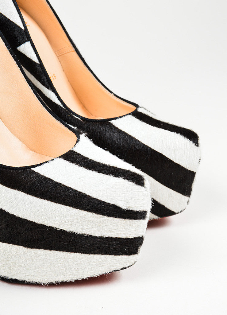 "Black and White Christian Louboutin Pony Hair Zebra Print ""Daffodile 160"" Pumps Detail"