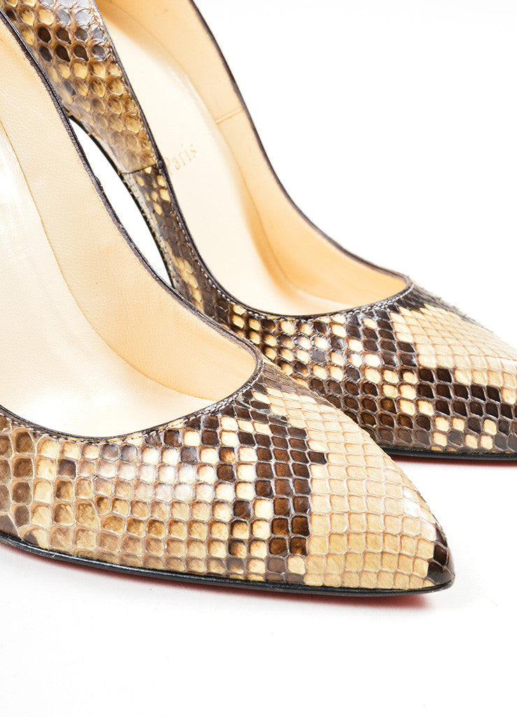 "Brown and Cream Christian Louboutin Snakeskin Leather ""Decollete"" Pumps Detail"