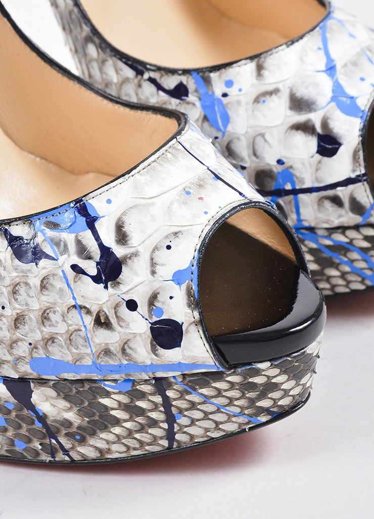 "Black and Blue Python Christian Louboutin ""Lady Peep Vulcano"" Pumps Detail"