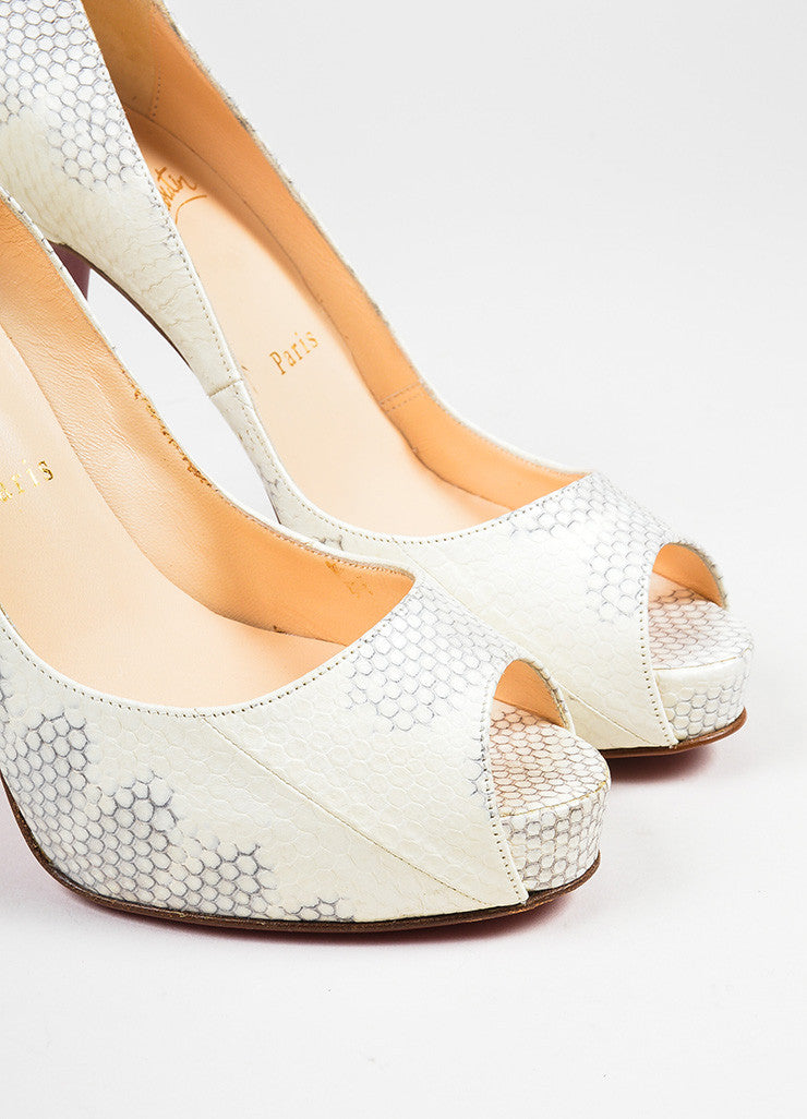 "White and Grey Christian Louboutin Watersnake Leather ""'Very Prive"" Pumps Detail"