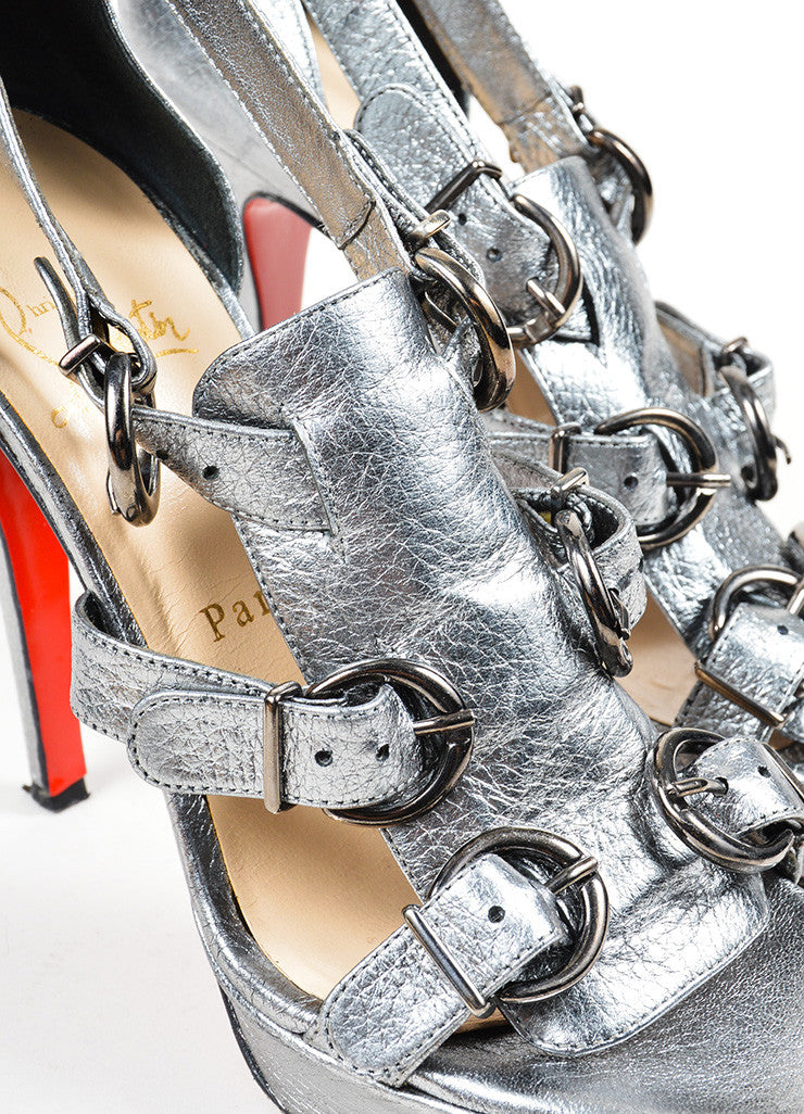 "Silver Metallic Leather Christian Louboutin ""Lima 120"" Buckle Heels Detail"