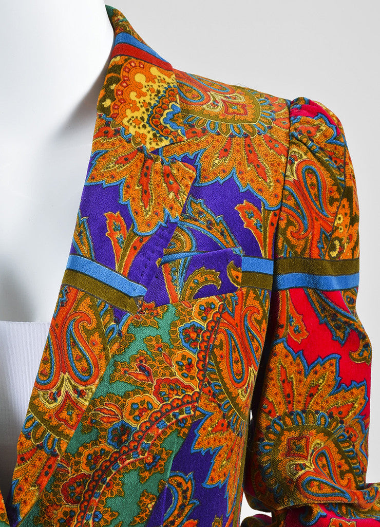 Red, Green, and Purple Dolce & Gabbana Silk and Cotton Velvet Paisley Blazer Detail