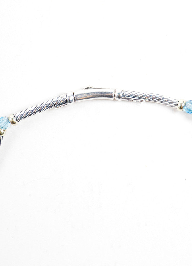David Yurman Gold Sterling Silver Blue Topaz Cable Choker Necklace Detail 3