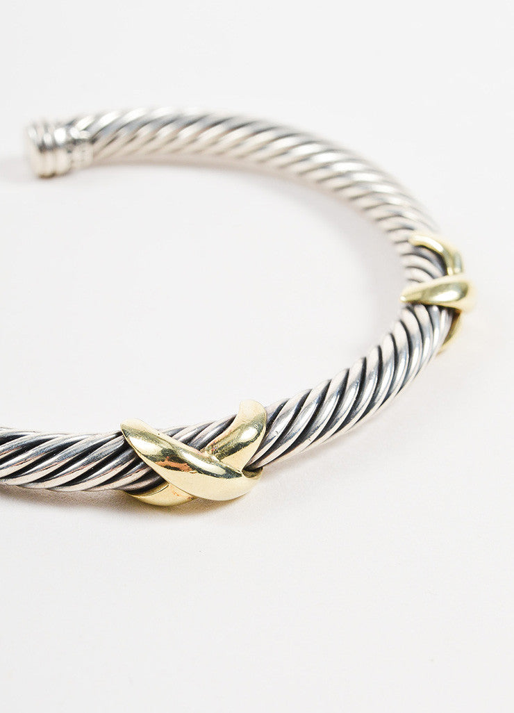 "David Yurman Sterling Silver and 14K Yellow Gold ""Double X"" 5mm Cable Bracelet Detail"