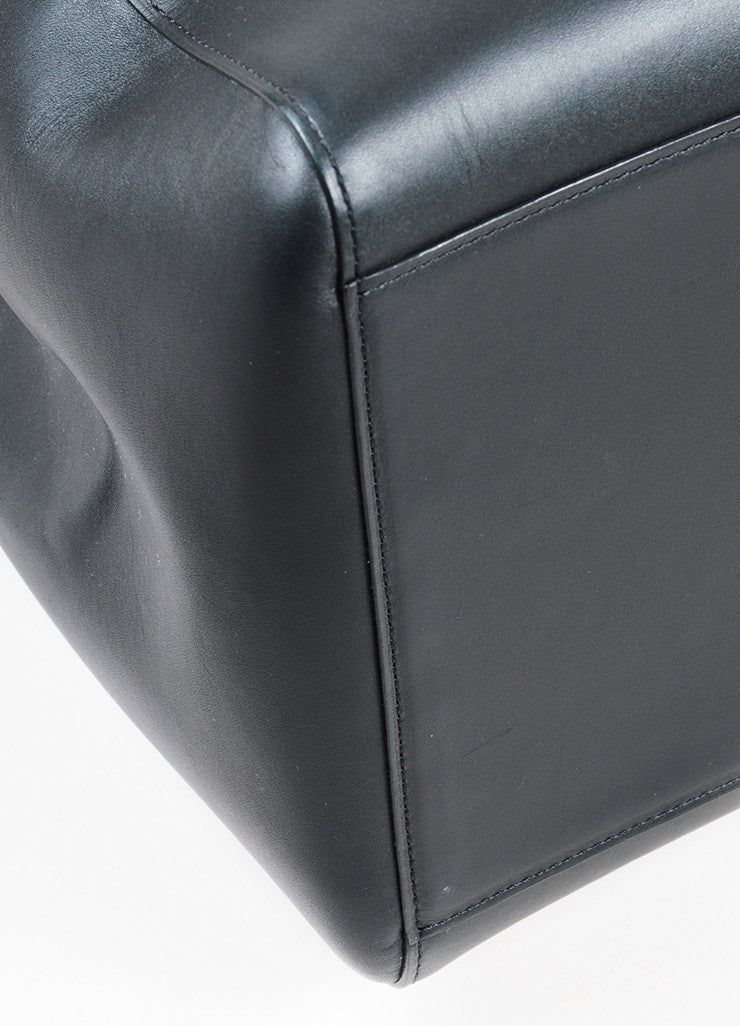 "Black Leather Delvaux  ""Simplissime"" Oversized Tote Bag Detail"