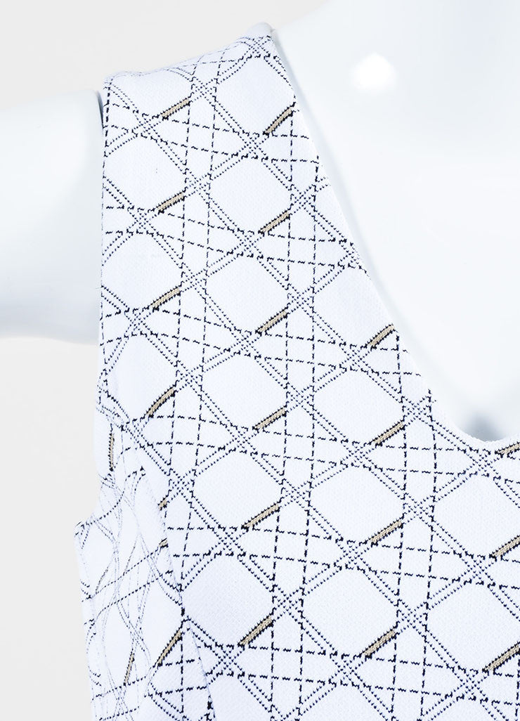 "White and Black Christian Dior Knit ""Cannage"" Print Sleeveless Dress Detail"