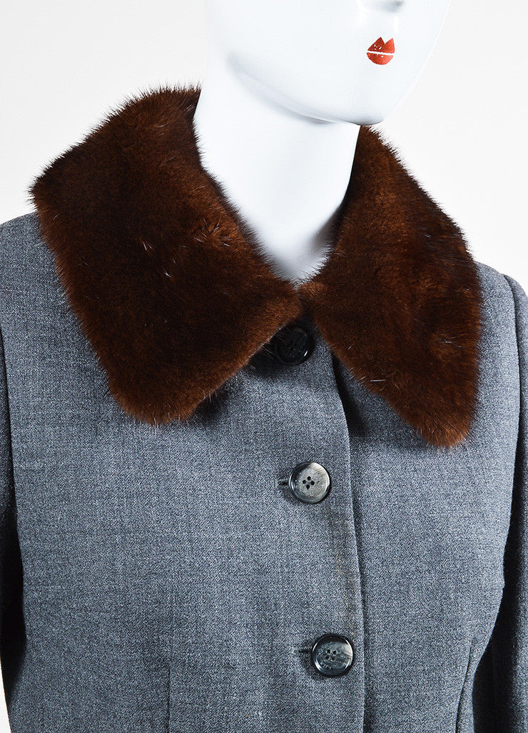 Dolce & Gabbana Grey and Brown Wool Blend Fur Collar Coat  Detail