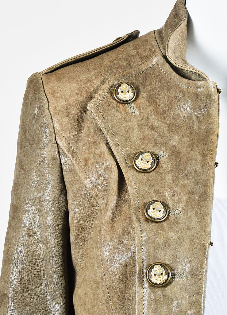 Dolce & Gabbana Taupe Brown Leather Military Double Breasted Jacket Detail