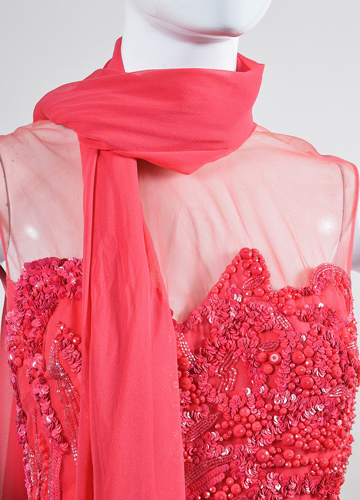 Coral Pink Elie Saab Silk Chiffon Bead Sequin Embellished Gown Detail