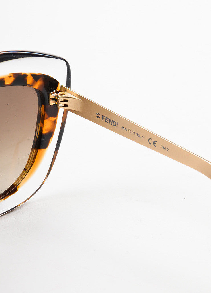 Fendi Brown and Clear Tortoise Shell Oversized 'FF 0029 S' Cat Eye Sunglasses Brand