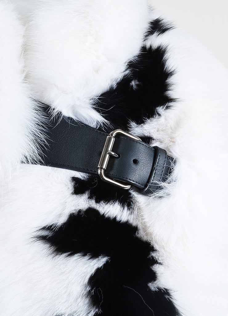 "Fendi Black and White Fox Fur ""Fendi Roma"" Wrap Detail 2"
