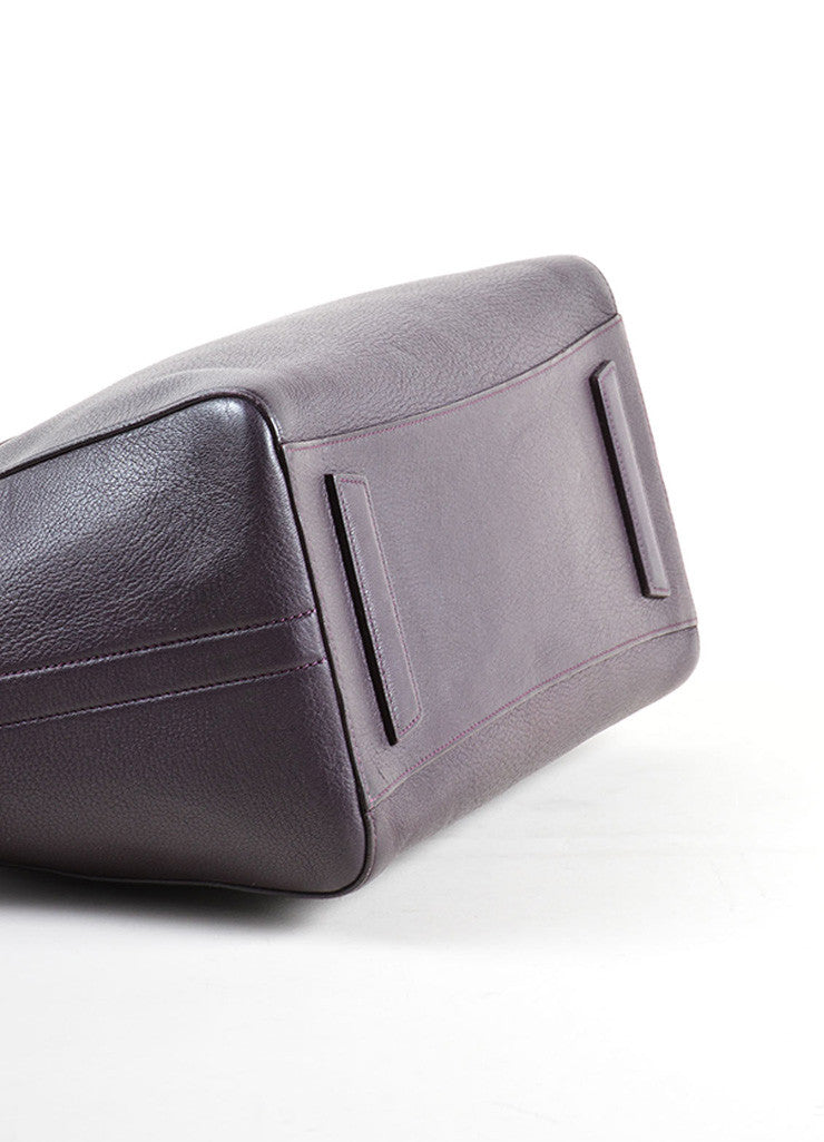 "Givenchy Dark Purple Grained ""Sugar"" Goatskin Leather Medium ""Antigona"" Handbag Bottom View"
