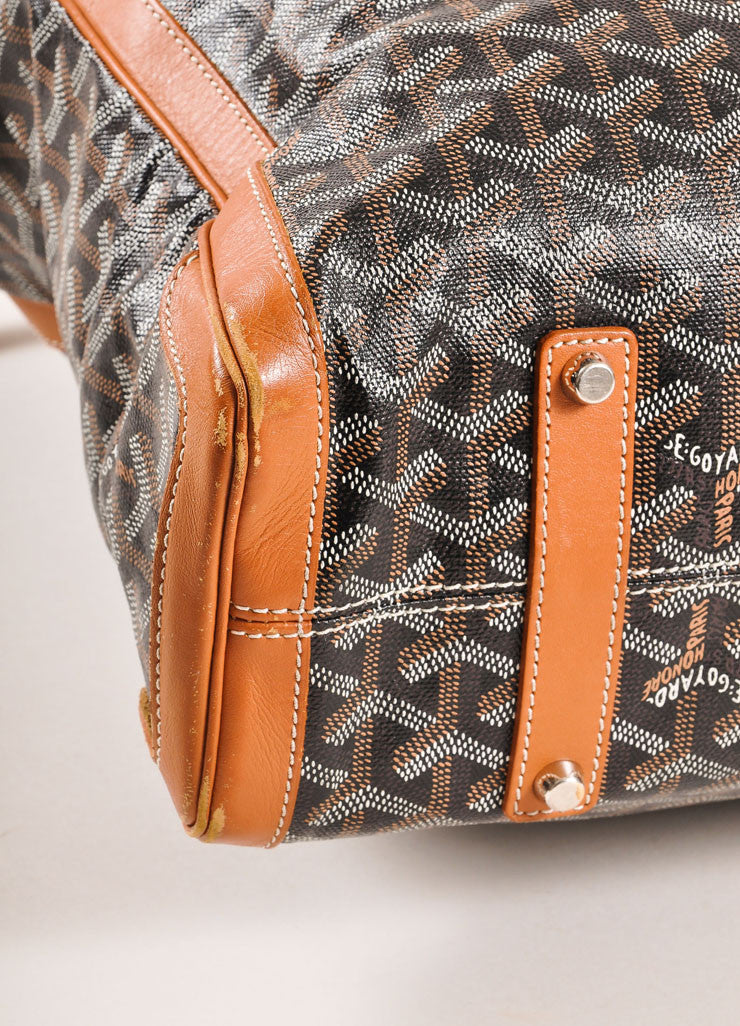 "Goyard Tan, Black, and White Canvas and Leather Chevron Print ""Voltaire"" Tote Bag Detail"