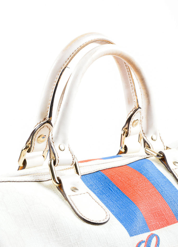 "Cream, Blue, and Red Gucci Coated Canvas Monogram Stripe ""Loves NY"" Boston Bag Detail 2"