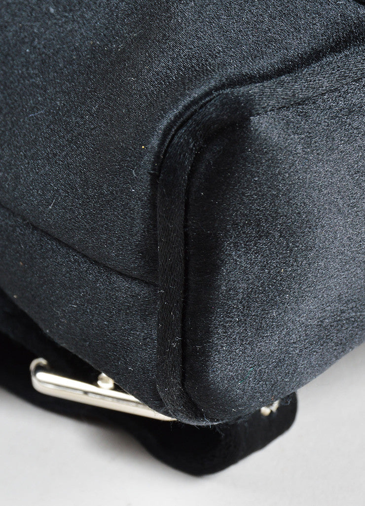 Gucci Black Satin Bamboo Embellished Flap Mini Backpack Detail 2