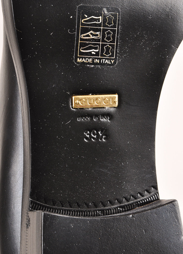 "Gucci New In Box Black Leather and Gold Toned Horse Bit ""Jamie"" Riding Boots Brand"