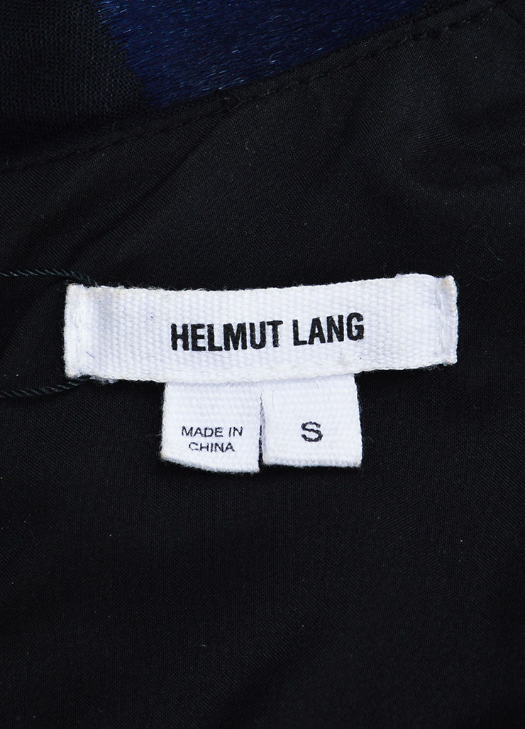 Helmut Lang Navy and Black Pony Hair and Wool Slit Back Sleeveless Top Brand