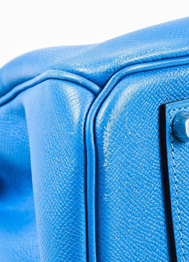 "Hermes Bleu de Galice Epsom Leather Palladium Hardware ""Birkin"" Bag Detail 2"