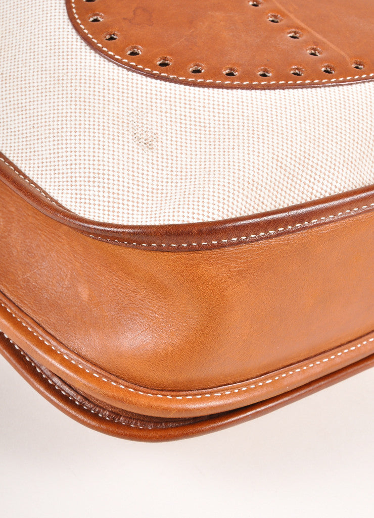 "Hermes Brown and Cream Leather and Canvas ""Evelyne PM"" Crossbody Shoulder Bag Detail"