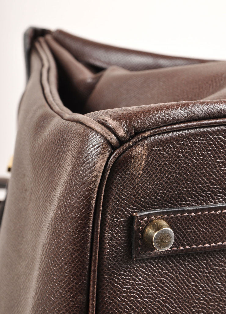 "Chocolate Brown and Gold Toned Hermes Epsom Leather 35 cm ""Birkin"" Bag Detail 2"