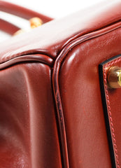 "Hermes Oxblood Red Box Calf Leather 35cm ""Birkin"" Handbag Detail"