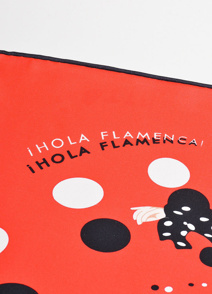 "Red and Black Hermes Silk Printed ""Hola Flamenca"" Scarf Detail 2"