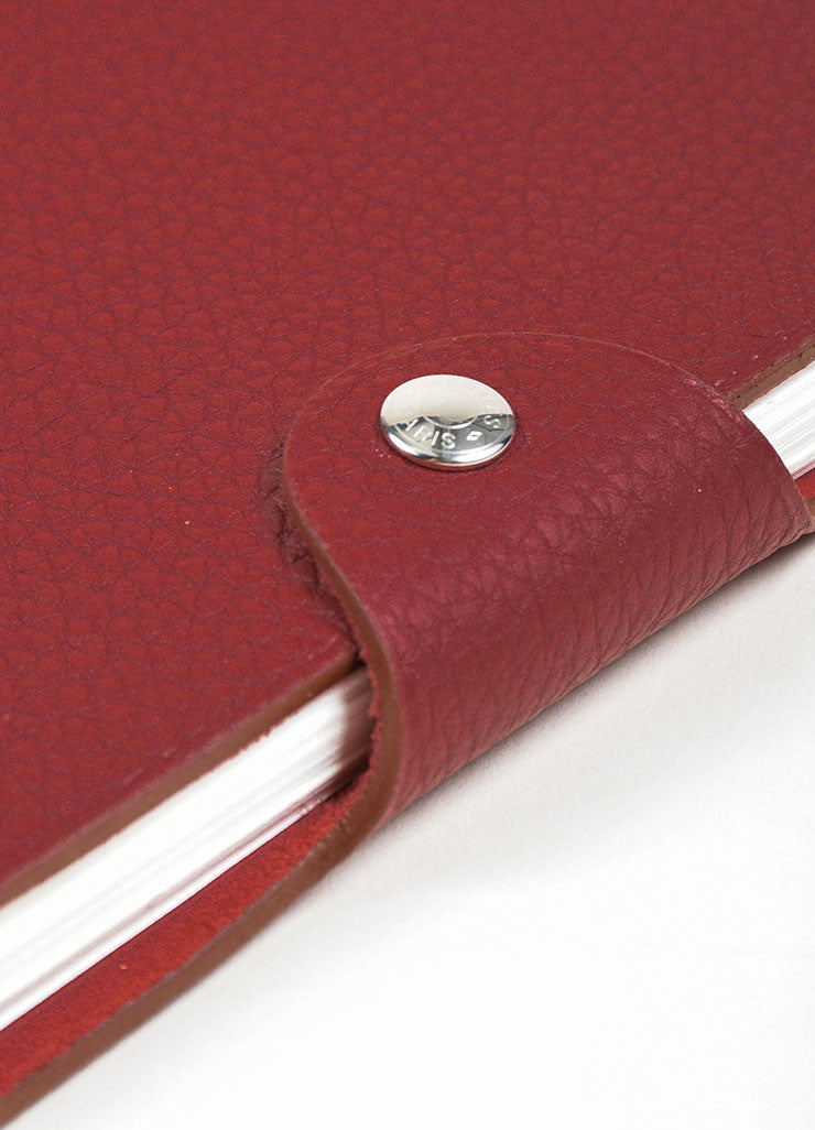 "Red Pebbled Leather Hermes ""Ulysse PM"" Agenda Notebook Cover with Paper Refill Detail"