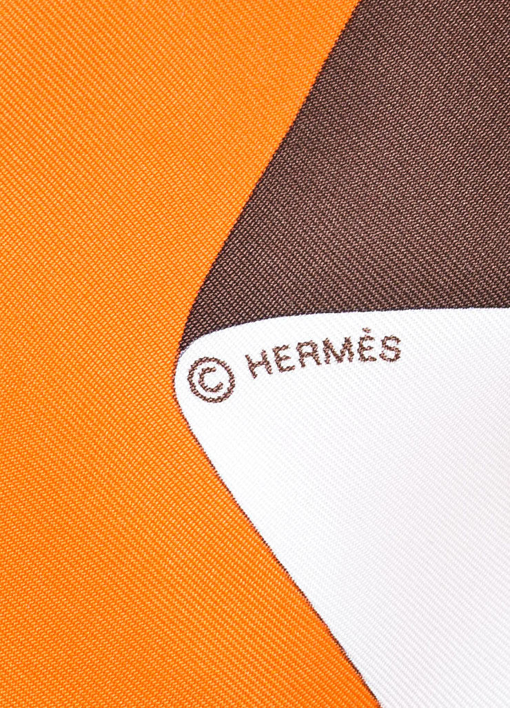 "Orange, Brown, and White Hermes Silk ""En Duo"" Scarf Brand"