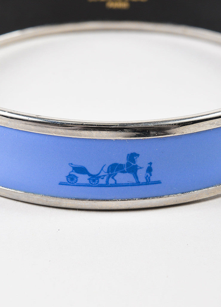 "Hermes Silver Toned and Purple Enamel ""Caleche"" Narrow Bangle Bracelet Detail"