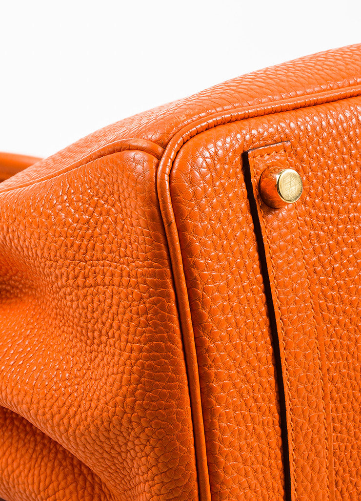"Hermes Tangerine Orange Clemence Grain Leather Top Handle ""Birkin 30"" Tote Bag Detail"