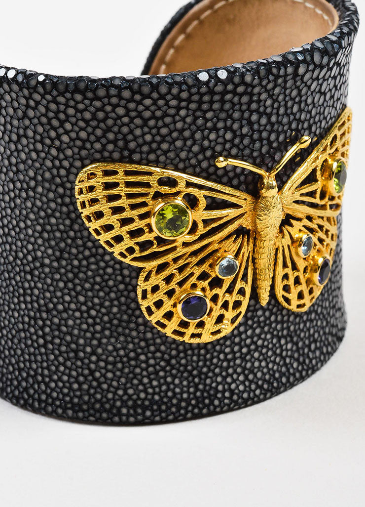Ilias Lalaounis 18K Gold, Stingray, and Tourmaline Butterfly Cuff Bracelet Detail
